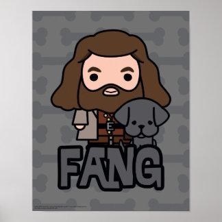 Cartoon Hagrid and Fang Character Art Poster