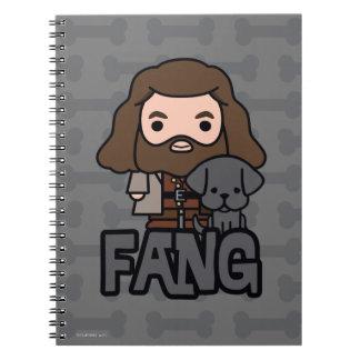 Cartoon Hagrid and Fang Character Art Spiral Notebook
