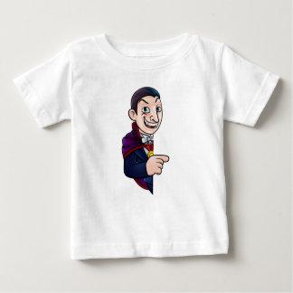 Cartoon Halloween Vampire Pointing at Sign Baby T-Shirt