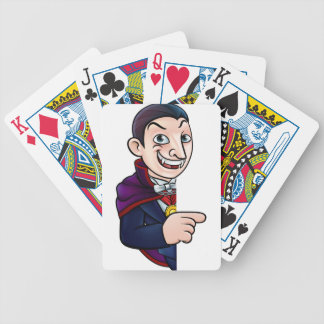 Cartoon Halloween Vampire Pointing at Sign Bicycle Playing Cards