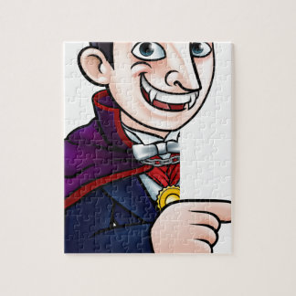 Cartoon Halloween Vampire Pointing at Sign Jigsaw Puzzle