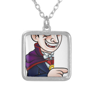 Cartoon Halloween Vampire Pointing at Sign Silver Plated Necklace