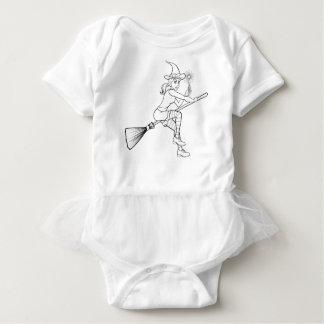 Cartoon Halloween Witch and Magic Wand Baby Bodysuit