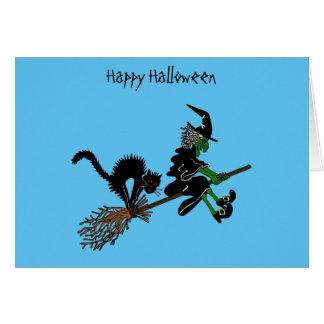 Cartoon Halloween Witch & Cat Card