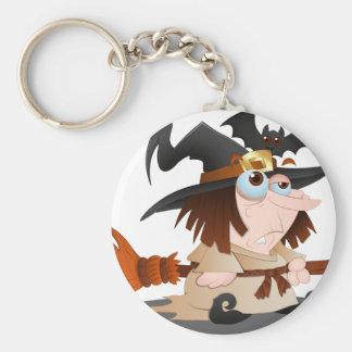 Cartoon Halloween Witch Key Ring