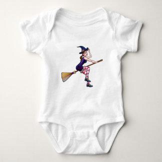 Cartoon Halloween Witch On Broomstick Baby Bodysuit