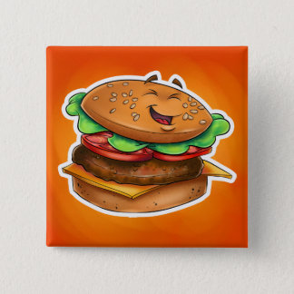 cartoon hamburger Square Button