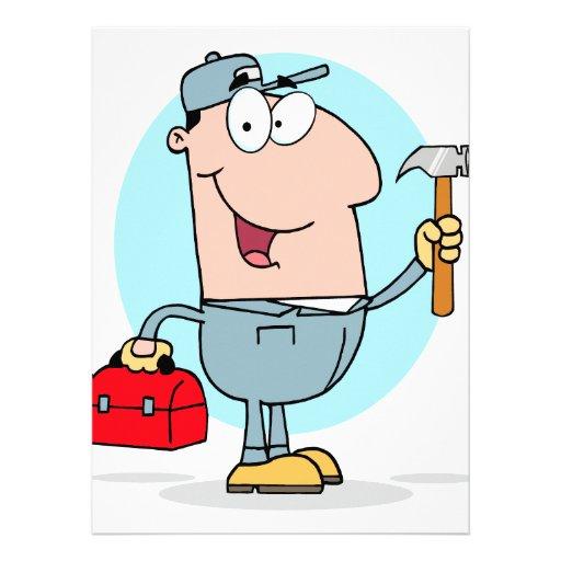 cartoon handyman construction worker character announcements