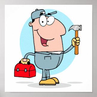 cartoon handyman construction worker character poster