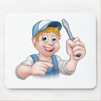 Cartoon Handyman Electrician Holding Screwdriver Mouse Pad