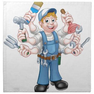 Cartoon Handyman Napkin