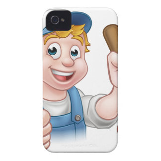 Cartoon Handyman Plumber Holding Plunger iPhone 4 Covers