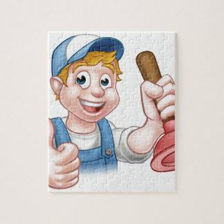 Cartoon Handyman Plumber Holding Plunger Jigsaw Puzzle