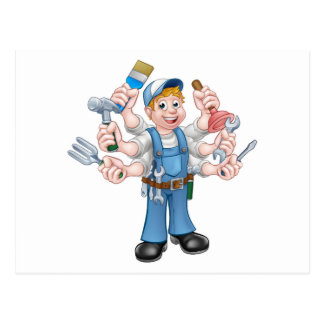 Cartoon Handyman Postcard