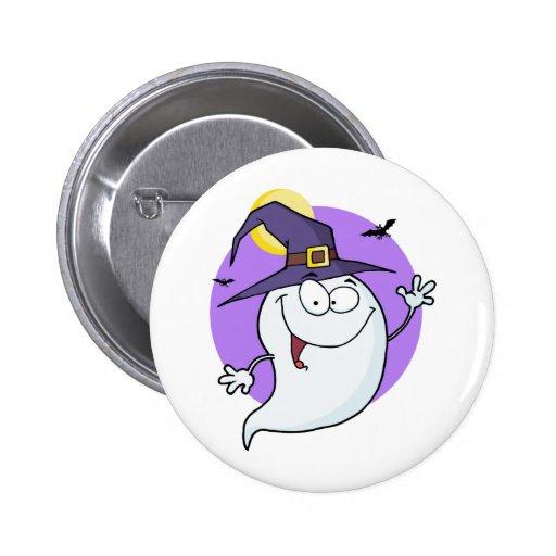 Cartoon Happy Halloween Ghost Flying In Night Pin