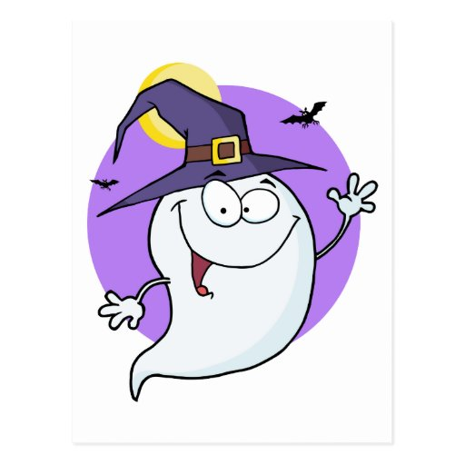 Cartoon Happy Halloween Ghost Flying In Night Postcard