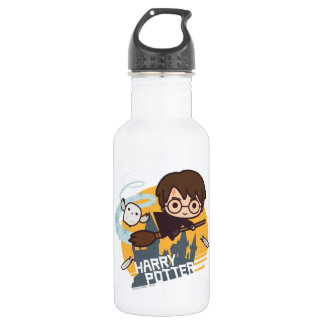 Cartoon Harry and Hedwig Flying Past Hogwarts 532 Ml Water Bottle