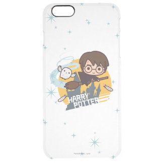 Cartoon Harry and Hedwig Flying Past Hogwarts Clear iPhone 6 Plus Case