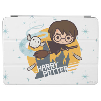 Cartoon Harry and Hedwig Flying Past Hogwarts iPad Air Cover