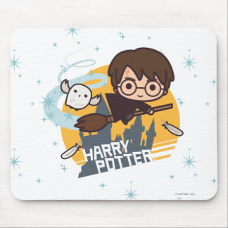 Cartoon Harry and Hedwig Flying Past Hogwarts Mouse Pad