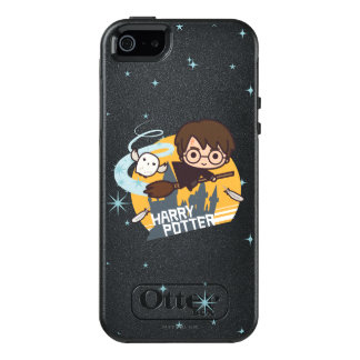 Cartoon Harry and Hedwig Flying Past Hogwarts OtterBox iPhone 5/5s/SE Case