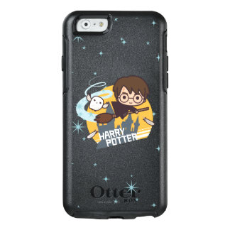 Cartoon Harry and Hedwig Flying Past Hogwarts OtterBox iPhone 6/6s Case