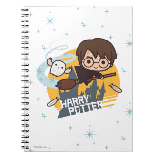Cartoon Harry and Hedwig Flying Past Hogwarts Spiral Notebook
