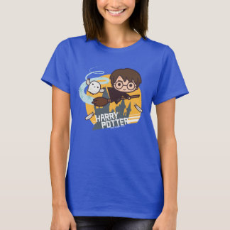 Cartoon Harry and Hedwig Flying Past Hogwarts T-Shirt
