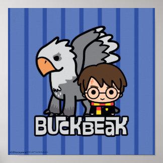 Cartoon Harry Potter and Buckbeak Poster