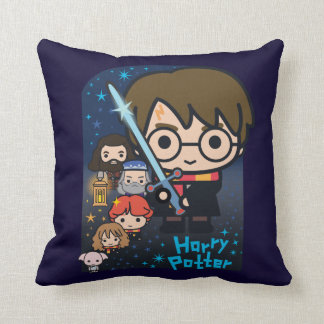 Cartoon Harry Potter Chamber of Secrets Graphic Cushion