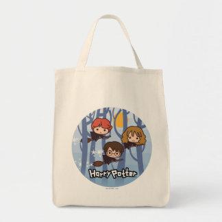 Cartoon Harry, Ron, & Hermione Flying In Woods