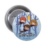 Cartoon Harry, Ron, & Hermione Flying In Woods 6 Cm Round Badge
