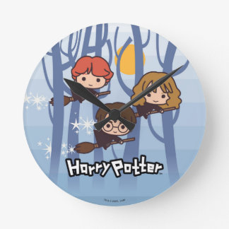 Cartoon Harry, Ron, & Hermione Flying In Woods Clocks