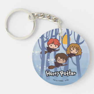 Cartoon Harry, Ron, & Hermione Flying In Woods Double-Sided Round Acrylic Key Ring