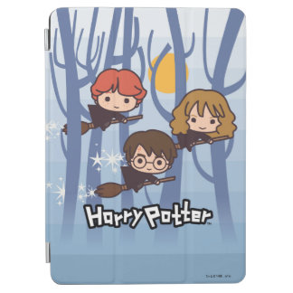 Cartoon Harry, Ron, & Hermione Flying In Woods iPad Air Cover