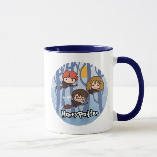 Cartoon Harry, Ron, & Hermione Flying In Woods Mug
