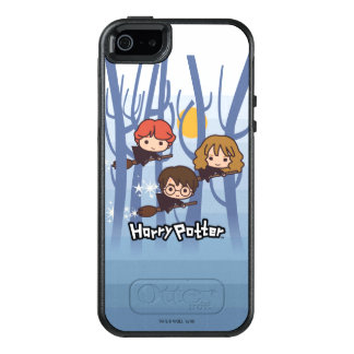 Cartoon Harry, Ron, & Hermione Flying In Woods OtterBox iPhone 5/5s/SE Case
