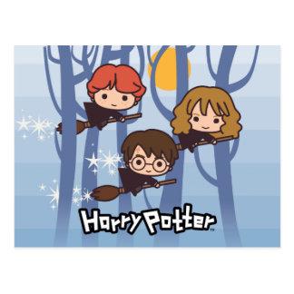 Cartoon Harry, Ron, & Hermione Flying In Woods Postcard