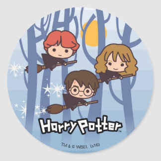 Cartoon Harry, Ron, & Hermione Flying In Woods Round Sticker
