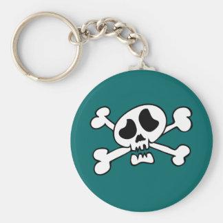 Cartoon head skull basic round button key ring