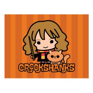 Cartoon Hermione and Crookshanks Postcard