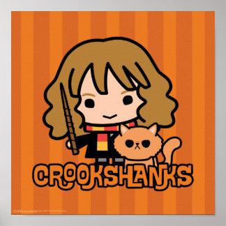 Cartoon Hermione and Crookshanks Poster