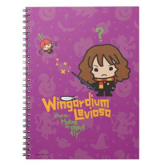Cartoon Hermione and Ron Wingardium Leviosa Spell Notebook