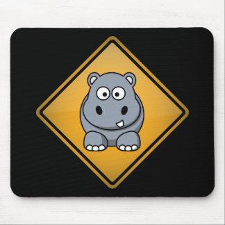 Cartoon Hippo Warning Sign Mouse Pad