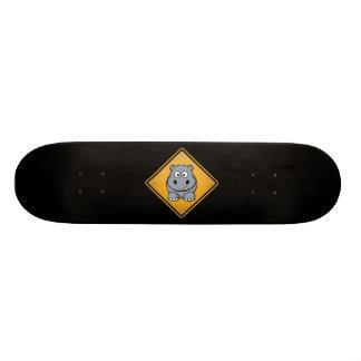 Cartoon Hippo Warning Sign Skateboard Deck