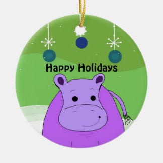 Cartoon Hippo with Christmas Decorations