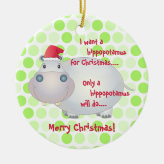 Cartoon Hippopotamus Christmas Ornament