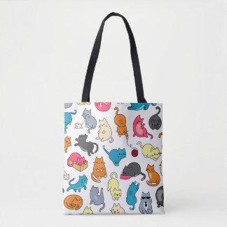 Cartoon Hipster Cats Tote Bag
