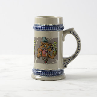 Cartoon hipster wolf with soda beer stein