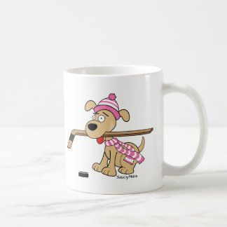 Cartoon Hockey Dog Girls Pink Hockey Coffee Mug